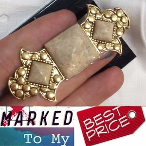 Vintage Jewelry - Art Deco Marble Slab Scarf Pin Brooch